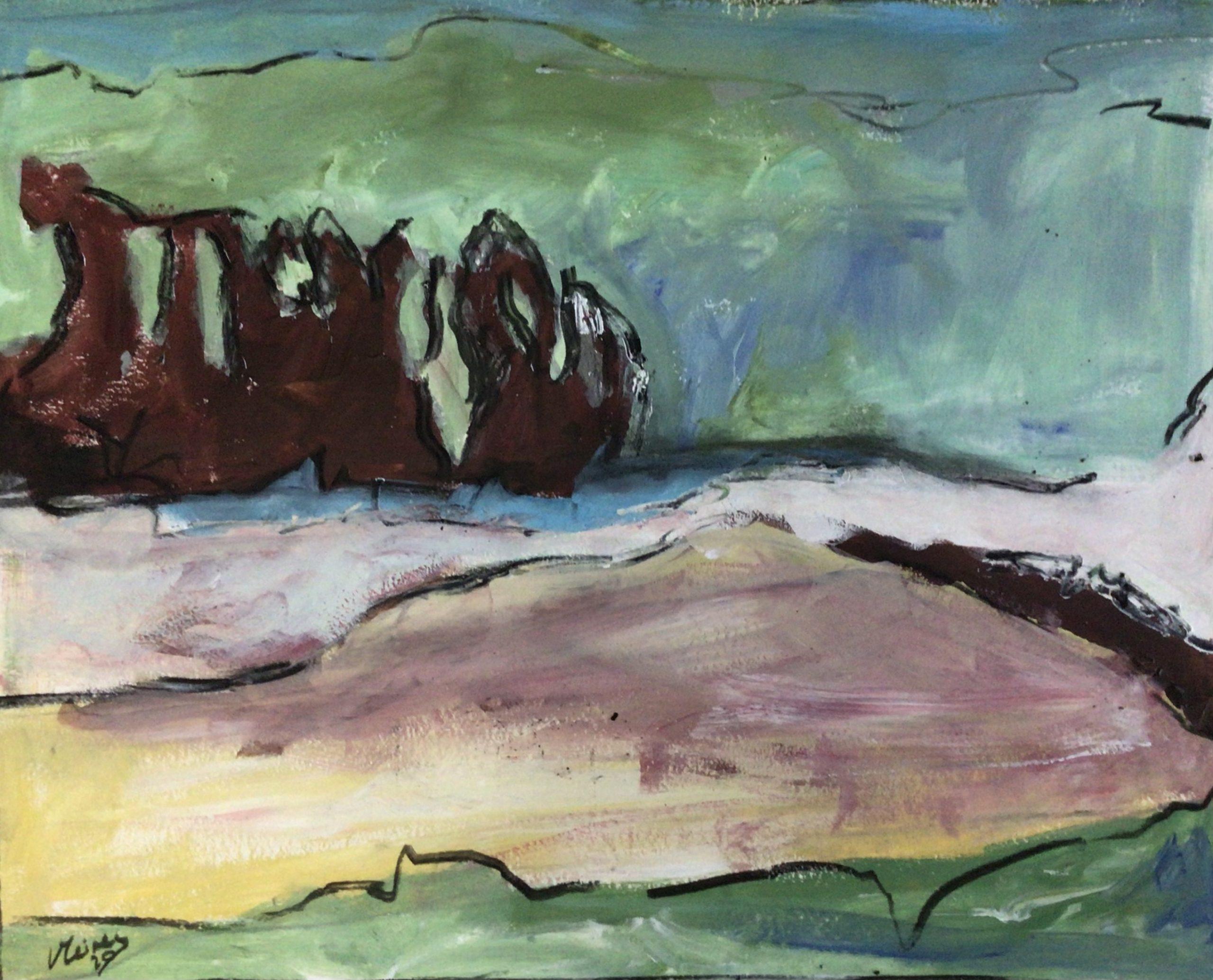 schilderij landschap met bomen Lida Meines