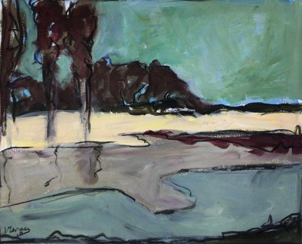 schilderij rivier met bomen Lida Meines