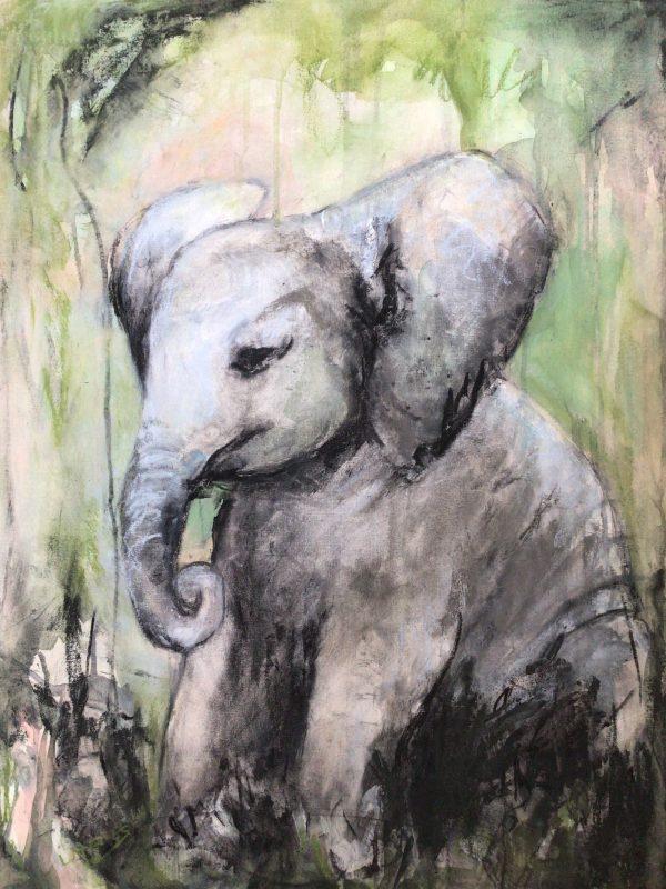 zittende Olifant, Houtskool, Pastelkrijt en Acryl op board canvas, 60x80cm, 2021