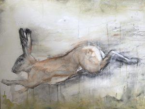 Haas, Houtskool, Pastelkrijt en Acryl op board canvas, 60x80cm, 2021