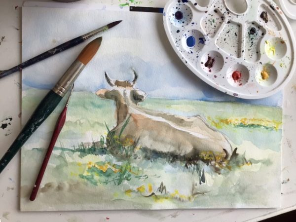 een koe schilderen met aquarelverf