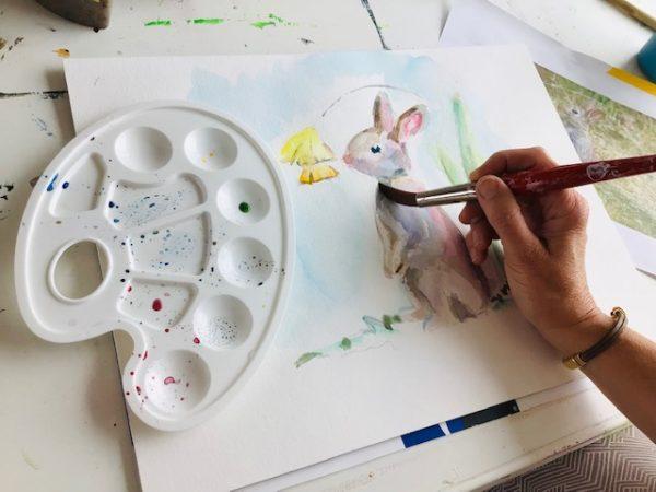 hoe aquarel ik een konijntje oefening
